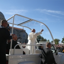 Pope Francis in the Popemobile