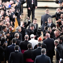 Pope Greating Seminarians and Nuns inside the Basilica