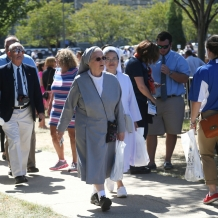 Religious sisters from many communities were represented at the Pope's Mass at CUA.