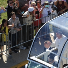 Pope Francis Greeting the Crowd Gathered for the Mass