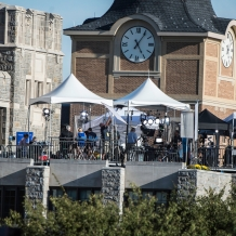 A view from the riser of the NBC rooftop studios on Father O'Connell Hall.