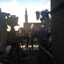 ABC News anchor David Muir on the air from the rooftop of Father O'Connell Hall.