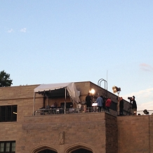 ABC News set up a rooftop studio on the east side of Father O'Connell Hall.