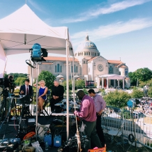 NBC News set up an elaborate operation on the west roof of Father O'Connell Hall.