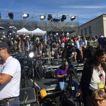 Media members arrived early on Sept. 23 to set up their gear on the riser.