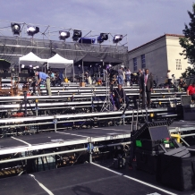 A 10-tiered riser on the University Mall accommodated more than 350 media representatives.