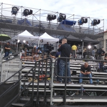 Media setting up on the 10-tier riser on the University Mall