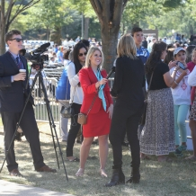 One of the many times TV reporters interviewed people at the Mass