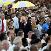 CUA President in the midst of the crowd at the papal Mass.