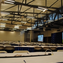 The Great Room of the Pryzbyla Center was set up as a filing center to accommodate 300 journalists.