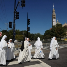 Dominican Sisters Crossing the Street to Attend the Papal Mass