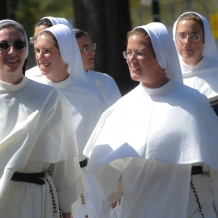 Sisters Walking to Mass