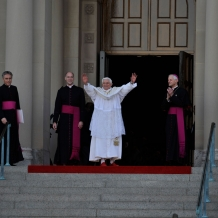 Pope Benedict XVI with Cardinal Donald Wuerl and Monsignor Walter Rossi, rector of the Basilica of the National Shrine of the Immaculate Conception