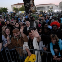 Thousands gathered on the campus to welcome Pope Benedict XVI on Wednesday, April 16, 2008.