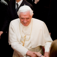 Pope Benedict XVI greets audience members in the Great Room of the Pryzbyla Center on April 17, 2008.