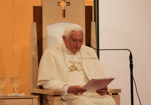 "In his speech on April 17, 2008, Pope Benedict XVI reminded Catholic educators that ""the truths of faith and of reason never contradict one another."""