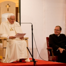 Pope Benedict XVI addresses Catholic educators from across the country in the Great Room of the Pryzbyla Center on April 17, 2008.
