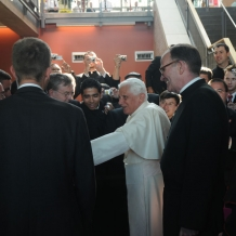 Pope Benedict XVI greets members of the University community in the lower lobby of the Pryzbyla Center on April 17, 2008.