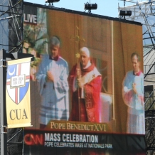 CUA students view Pope Benedict XVI's Mass at Nationals Stadium on a big screen on campus on April 17, 2008.