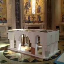 The partially finished altar for the papal Mass sits in the Great Upper Church of the Basilica.