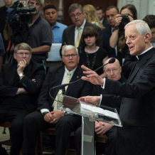 Cardinal Wuerl takes questions from the media about Pope Francis's itinerary in Washington, D.C.