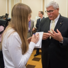 Frank Persico, CUA vice president for university relations and chief of staff responds to a reporter's question