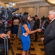 CUA Vice President for University Relations talks with NBC news reporter