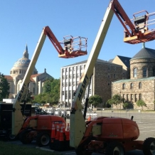 Construction equipment was moved into McMahon parking lot on Monday to begin getting ready for the Pope's visit.