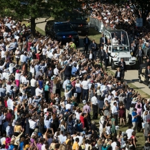 Pope Francis in the Popemobile on CUA Campus