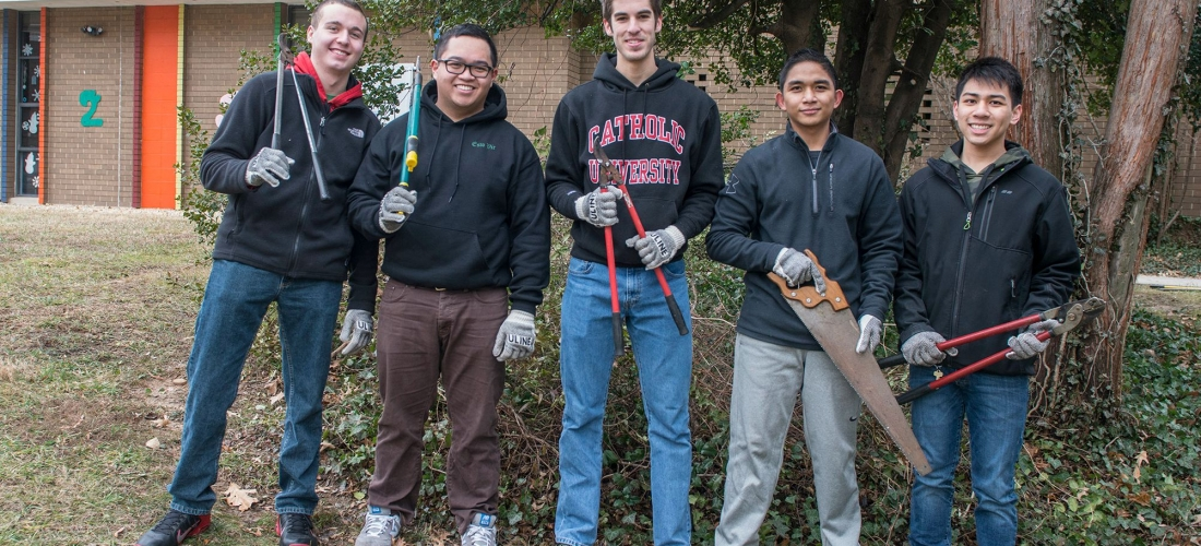 CUA students volunteer with seniors at Carroll Manor and the Schrilli School in Northeast as part of the Martin Luther King Day of Service in Washington , D.C.