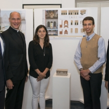 Papal altar designers Ariadne Cerritelli and Matthew Hoffman  with contest sponsors