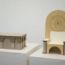 Design for papal altar and chair mimics the architecture of the Romanesque-Byzantine style Basilica