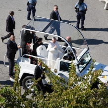 Pope Francis Entering CUA's Campus