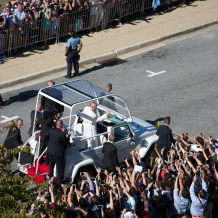 Pope Francis Entering The Campus
