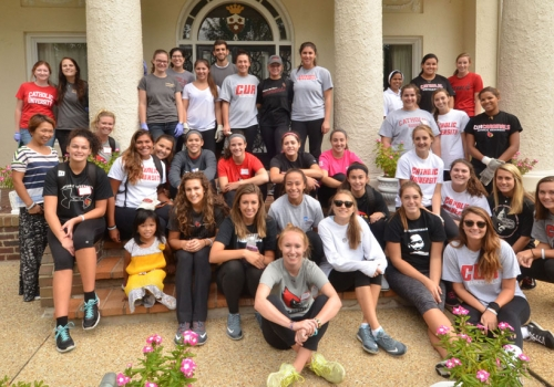 "CUA students, faculty, staff, and alumni participated in ""Serve with Francis Day"" on Sunday, Sept. 13"