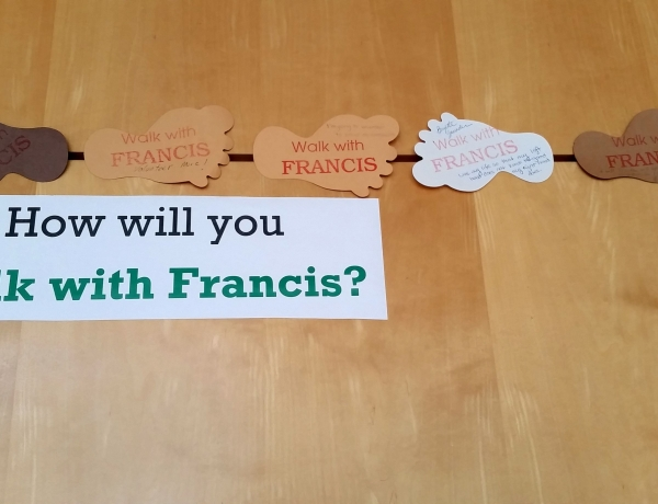 Walk with Francis: cut-out feet