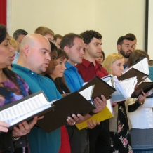Singers from the University Chamber Choir rehearse Sept. 17 in Ward Hall.