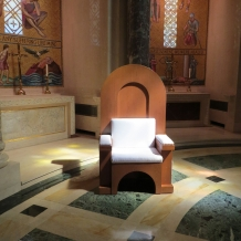 Papal chair designed by CUA students and built by Deacon Dave Cahoon sits inside the Basilica