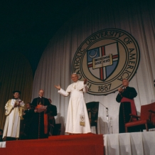Pope John Paul II spoke to Catholic educators in 1979 in the Catholic University field house, which is now the Crough Center for Architectural Studies.