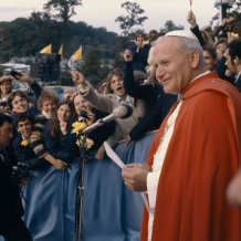 Pope John Paul II speaks to members of the Catholic University community during his 1979 visit to campus.